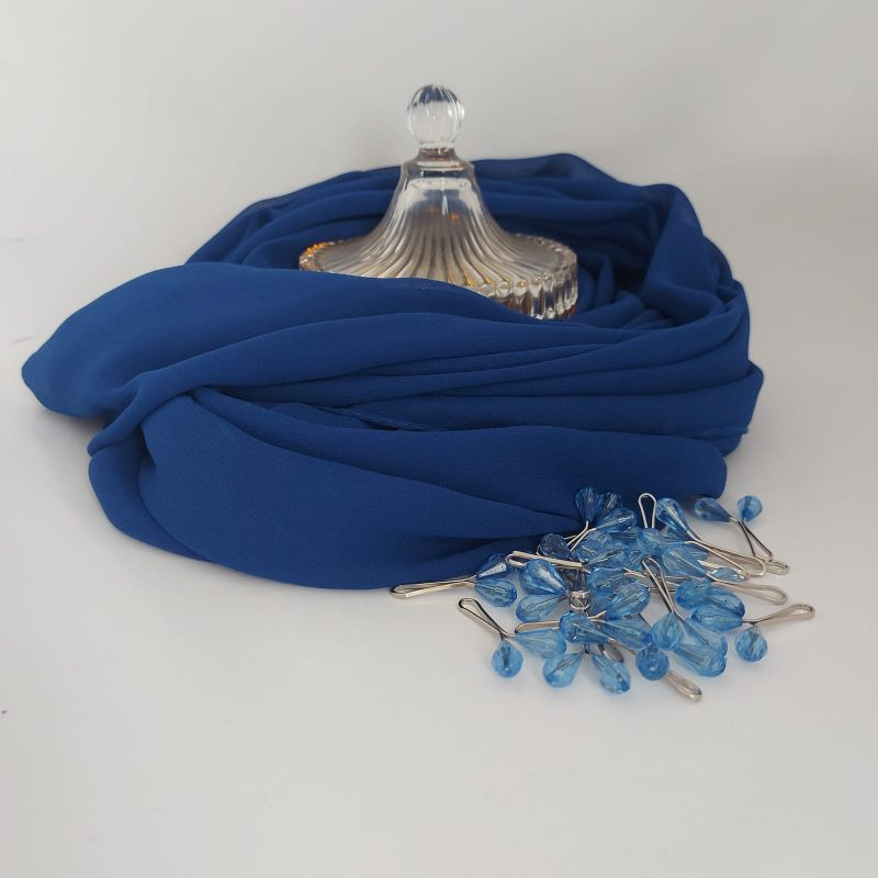 hijab mousseline bleu roi hicabistan