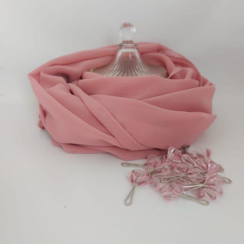 hijab mousseline rose