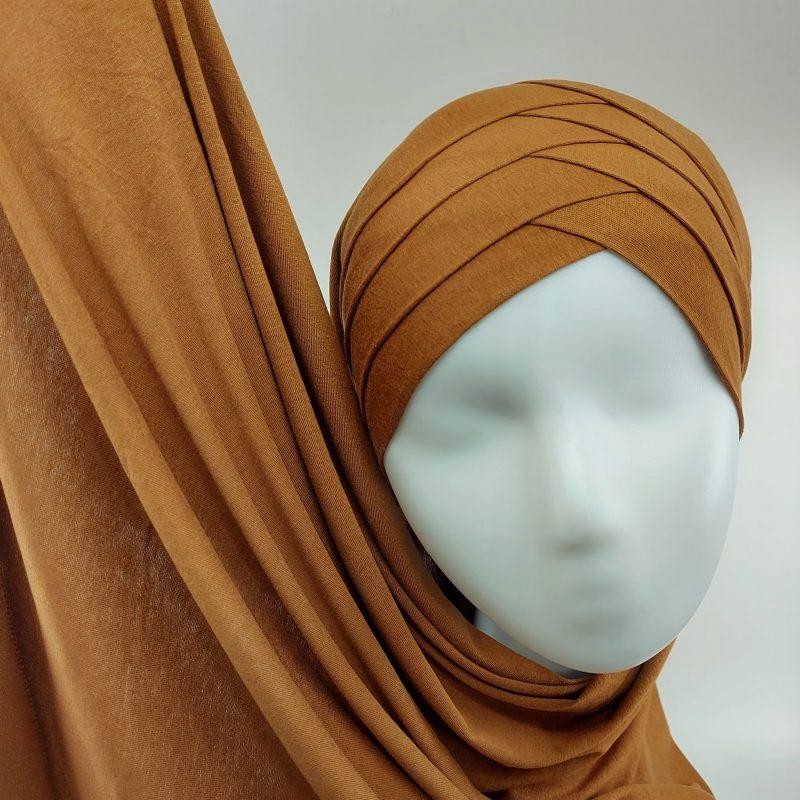 hijab sedef à nouer jersey caramel