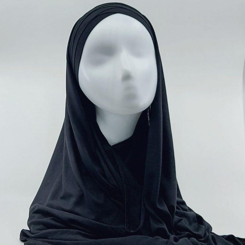hijab sedef à nouer jersey noir