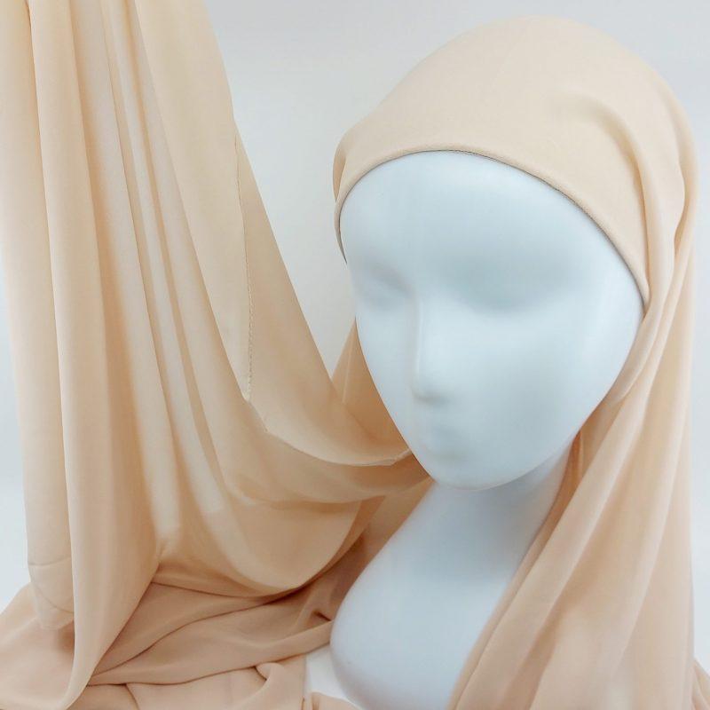 hijab a enfiler mousseline nude