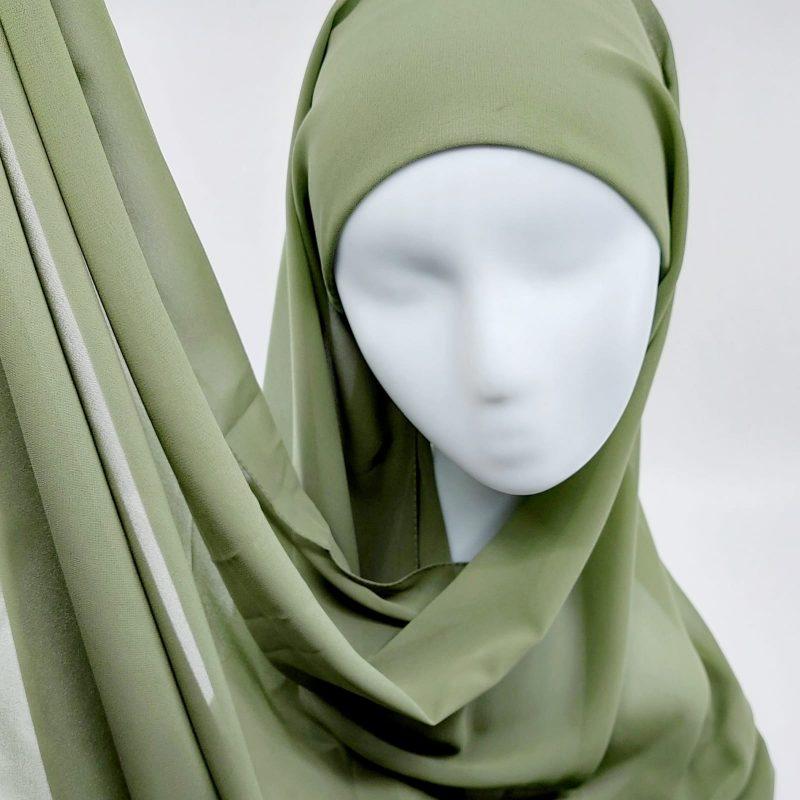 hijab mousseline vert a enfiler