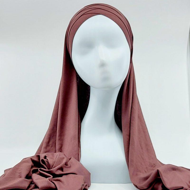 hijab sedef à nouer jersey marron